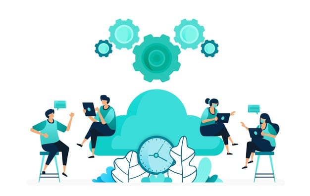 ilustracao-em-vetor-de-tempo-de-computacao-em-servidores-de-armazenamento-e-hospedagem-gerenciar-o-tempo-da-rede-em-nuvem-grupo-de-trabalhadores-mulheres-e-homens-projetado-para-site-web-pagina-de-destin